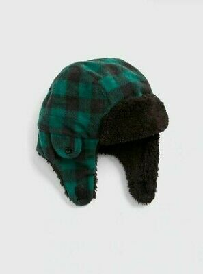 NWT BABY GAP BOY/'S MODERN RED PLAID TRAPPER HAT 100/% COTTON