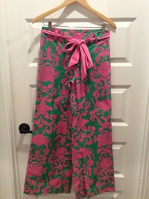 Lilly Pulitzer Where's The Reef Wide Leg Pants Pink And Green Size 2