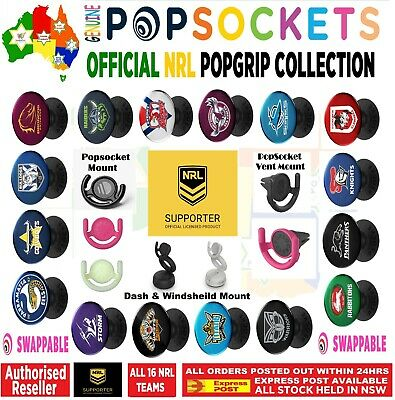Genuine NRL Rugby League PopSockets Pop Grip Socket Swappable Car Holder Mount