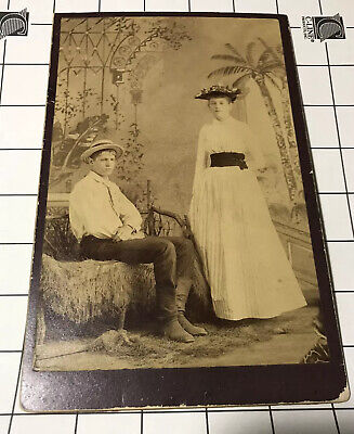vtg Antique Photo Cabinet Two Young Teens Boy Girl Siblings? Straw Hat Milineey