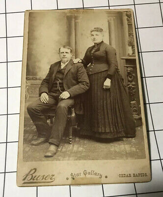 vtg Antique Photo Cabinet ID'd Berry Couple Buser Star Gallery Cedar Rapids Iowa