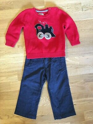 Osh Kosh Baby Gap Boy Outfit 18M 24M 2T Pants Sweater Red Navy Train Cotton