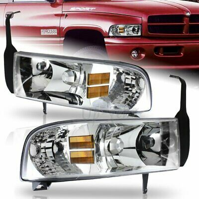 For 1994-2001 Dodge Ram Chrome Housing 1-Piece Headlights Amber Reflector Lamp