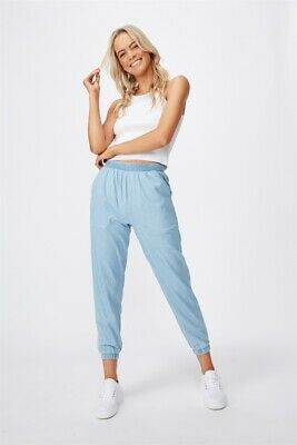 Cotton On Mia Drapey Pant Casual Pants  In  Light Blue Wash