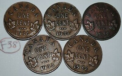 Canada 1932 1933 1934 1935 1936 George V 1 Cent Canadian Copper Coins Lot #F38