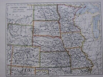 1918 Map United States North West Central ~ Nebraska Colorado Wyoming Kansas