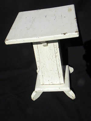 Vintage Arts & Crafts Mission Shabby-Chic White Painted Wood Plant Stand/Table
