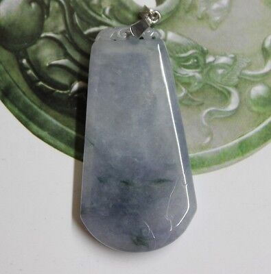 CERTIFIED Natural Jade (Type A) Icy Lavender Green Jadeite Carved Safety Pendent