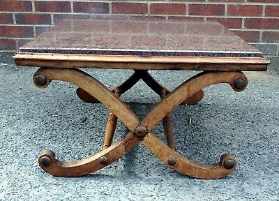 William IV Regency antique solid rosewood X frame stool marble coffee side table