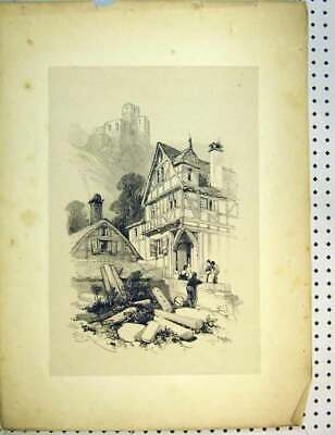Original Old Antique Print C1810 Drawing Village Hill-Top Castle Family 19th