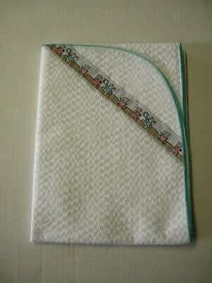 """Baby Blanket By Little Lords & Ladies, White W/Teal Trim, 28"""" x 40"""", Brand New"""