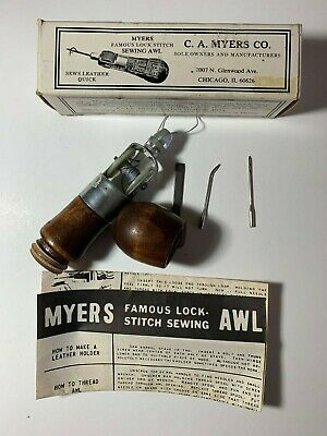 MYERS FAMOUS LOCK STITCH LEATHER SEWING AWL BY C A MYERS CO, Chicago Box Needles