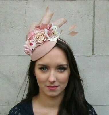 Nude & Blush Light Pink Flower Feather Hat Fascinator Races Wedding Hair 9023
