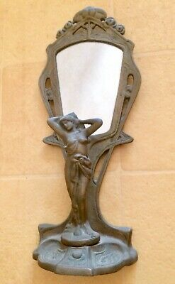 Vintage Art Deco Solid Brass Naked Lady Statue Figurine And Mirror