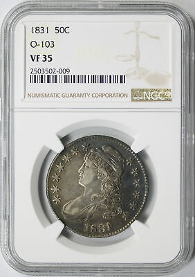 1831 50c Capped Bust Half Dollar O-103 NGC VF35