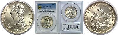 1839 50C Capped Bust Half Dollar Reeded Edge Large Letters PCGS MS-64