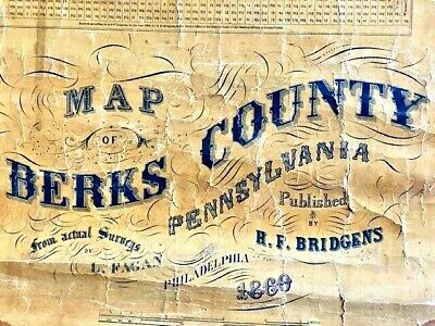 Berks County Pennsylvania 1860 Old Wall Map with Homeowner Names Genealogy