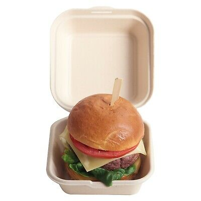 HOME COMPOSTABLE Large Food Clamshell Box Made From Wheat Fibre Pulp x 50 Pack