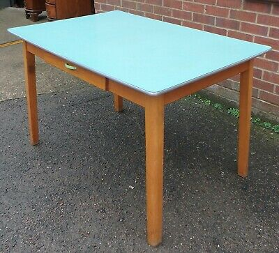 Vintage midcentury antique Art Deco blue green beech kitchen dining table seat 4