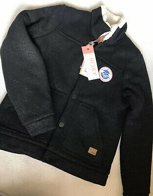 Roxy Girls Age 10years Zip Up Fleece Jacket Black Cozy Lining New With Tags