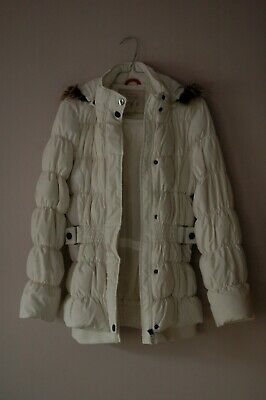 Girls Ladies Down+Feather Warm White Winter Parka Jacket C&A Here+There Size 164