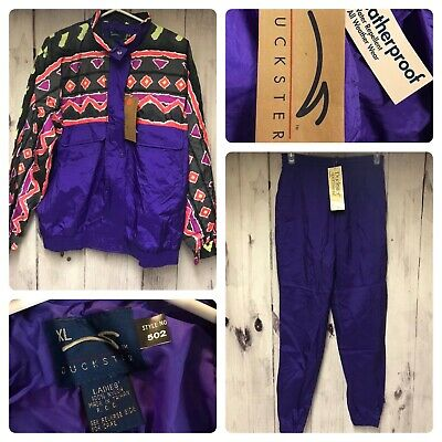 Vintage 90's Purple Duckster Womens XL Track Suit Windbreaker Jacket With Pants