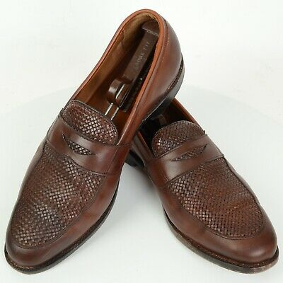 Allen Edmonds Chestnut Brown Woven Leather Penny Loafer Lake Bluff 12D