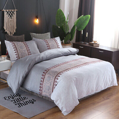 Grey Floral Doona/Duvet/Quilt Covers Set Double Queen King Size Bed Pillowcases