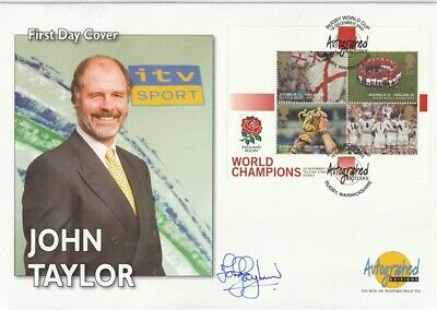 19 December 2003 Rugby Miniature Sheet Signed John Taylor First Day Cover Shs