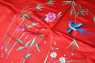 Vintage Exquisite Silk Cloth with Fabulous Embroidery Birds and Flowers w Fringe
