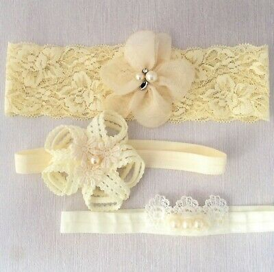 Baby headband, white ivory hair band set, handmade lace elastic headbands SALE!!