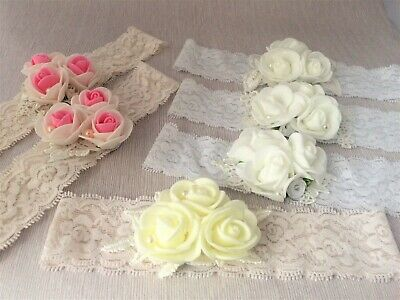 Baby Headband with Roses, elastic hair band in White, Ivory,Pink Baptism SALE!!