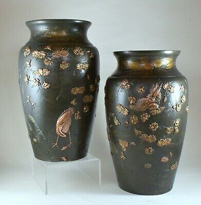 A Stunning Pair Of Antique Meiji Period Japanese Bronze Vases Inlaid Copper