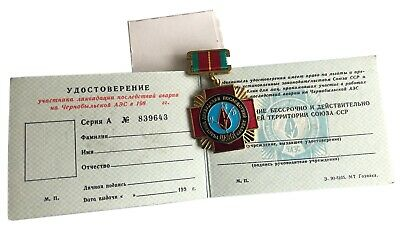 Soviet Russian CHERNOBYL LIQUIDATOR USSR Original Medal Badge Box Document