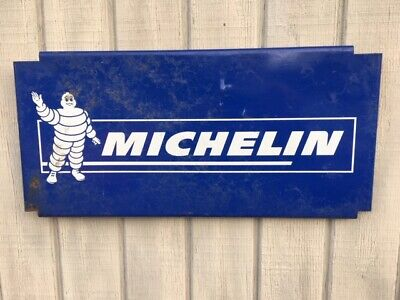 """MICHELIN TYRES MADE IN ENGLAND BIBENDUM DIE CUT Sign Rare 80/'s ENAMEL 14/"""" BY 24/"""""""