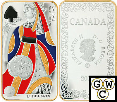 2008 Queen of Spades -Playing Card Colorized Prf $15 Sterling Silver Coin(12391)