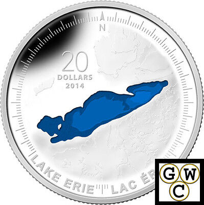 2014 Lake Erie-Great Lakes'Blue Enameled Prf $20 Silver Coin 1oz .9999 (13946)NT