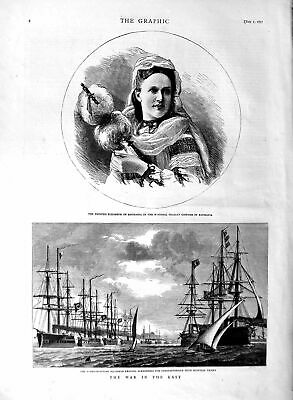 Old Antique Print 1877 Turko-Egyptian Ships War Troops Princess Roumania 19th