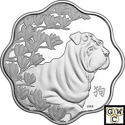 2018Year of the Dog(Lunar Lotus-Scallop Shaped)Prf $15 Silver Coin.9999(18226)NT