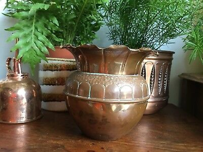 Vintage Arts & Crafts Copper Planter Pot Jardiniere Art Nouveau Succulent Cactus