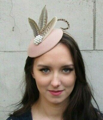 Nude Brown Cream Pearl Pheasant Feather Hat Fascinator Races Hair Piece 9035