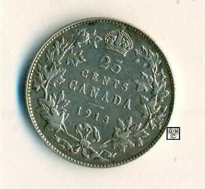 1913 Canada 25cents Coin  VF/EF