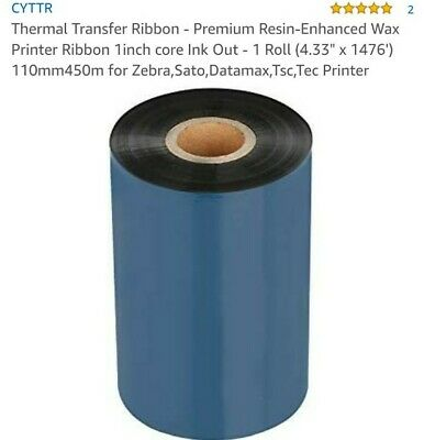 "12 Monarch 9800;Thermal Transfer Ribbon; Premium Wax; 4.33/"" x 1969/' Case of"