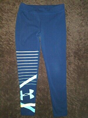 GIRLS Under Armour UA Yoga/Running Fitted Legging Pants Navy Size YXL