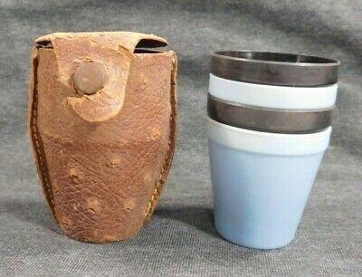 Vintage 1950s Shot Glass Cup Set of 4 in Original Leather Travel Kit Antique