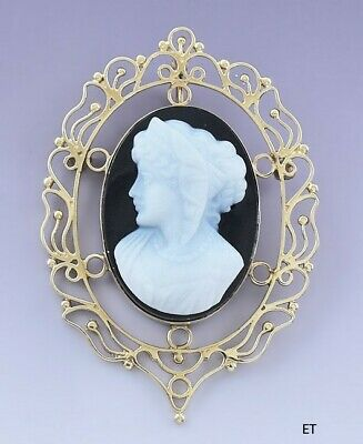 Beautiful 14k Gold Carved Cameo Pin Brooch / Pendant Victorian Style