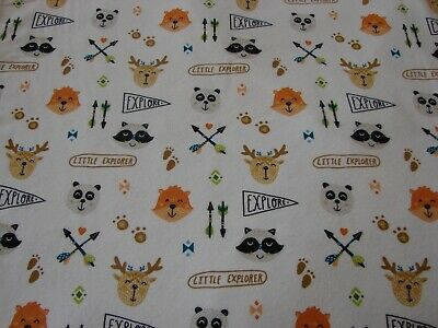 Little Explorers Flannelette Fitted White Cot Sheet Handmade