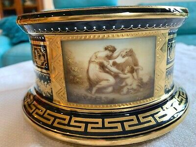 "Handpainted original antique Royal Vienna 6"" base for urn or vase"