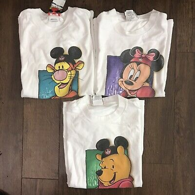 Vintage Vtg 90's Disney Disneyland Park Youth T Shirt Lot Sz M Pooh Tigger Kids