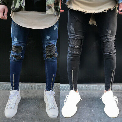 Mens Biker Skinny Jeans Loyalty & Faith Slim Fit Stretch Trousers Ripped Pants